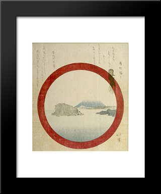 Fuji And Enoshima Through A Round Window: Modern Black Framed Art Print by Toyota Hokkei