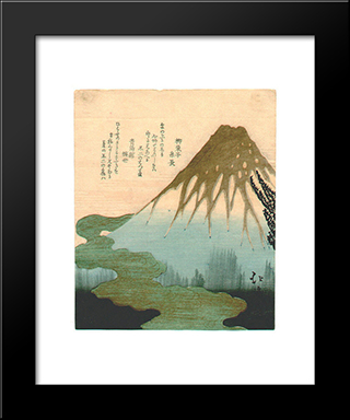Mt. Fuji Above The Clouds, Copy After Hokkei'S Print From The Set Of Three Lucky Dreams: Modern Black Framed Art Print by Toyota Hokkei