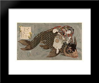 Oniwakamaru And The Giant Carp: Modern Black Framed Art Print by Toyota Hokkei