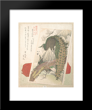Painting Of Peacocks, Waterfall And A Red Pillow: Modern Black Framed Art Print by Toyota Hokkei