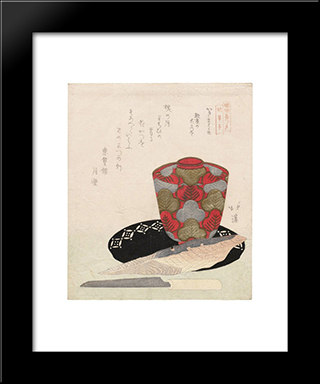 Rice Cakes And Bonito: Modern Black Framed Art Print by Toyota Hokkei