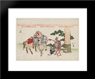 Shrine Attendants Smoking: Modern Black Framed Art Print by Toyota Hokkei