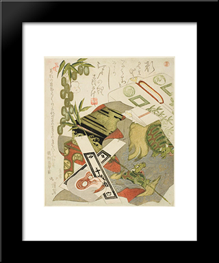 Still-Life With Monkey Mask: Modern Black Framed Art Print by Toyota Hokkei