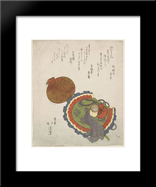 Symbols Of Good Luck: Modern Black Framed Art Print by Toyota Hokkei