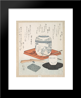 Tea Things: Modern Black Framed Art Print by Toyota Hokkei