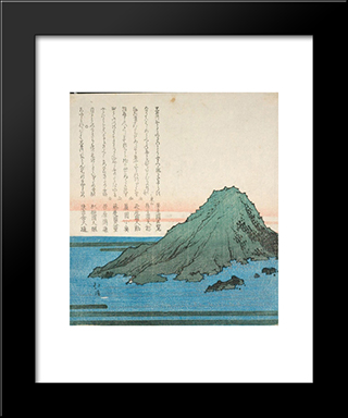 The Sea With Mountains: Modern Black Framed Art Print by Toyota Hokkei