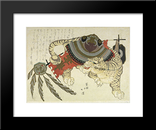 Tiger Carrying Armor: Modern Black Framed Art Print by Toyota Hokkei