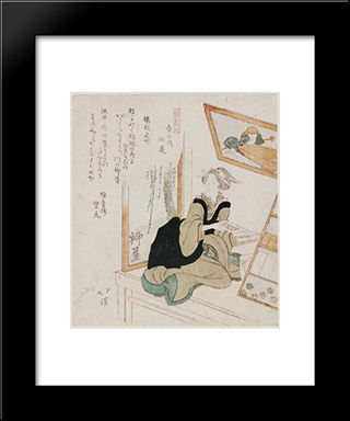 Toothbrush Seller, From The Series Ten Kinds Of People (Jinbutsu Juban Tsuzuki): Modern Black Framed Art Print by Toyota Hokkei