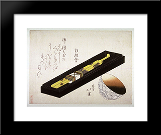 Tortoise Shell Hairpin And Porcelain Cup With A Coating Of Lip Rouge: Modern Black Framed Art Print by Toyota Hokkei