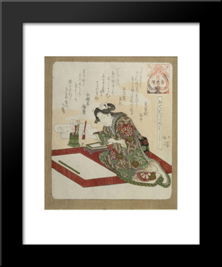Woman Preparing For The First Calligraphy Of The Year (Kakizome): Modern Black Framed Art Print by Toyota Hokkei
