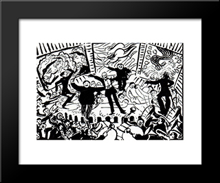 A Futurist Evening In Milan: Modern Black Framed Art Print by Umberto Boccioni
