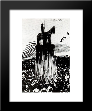 Agitate Crowd Surrounding A High Equestrian Monument: Modern Black Framed Art Print by Umberto Boccioni