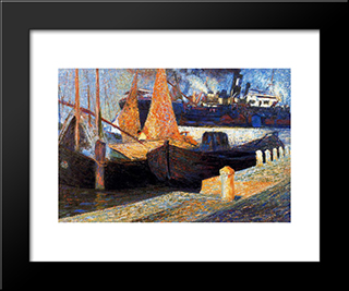 Boats In Sunlight: Modern Black Framed Art Print by Umberto Boccioni