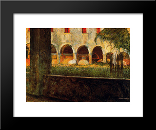Cloister Of S. Onofrio: Modern Black Framed Art Print by Umberto Boccioni