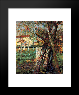 Countryside With Trees: Modern Black Framed Art Print by Umberto Boccioni