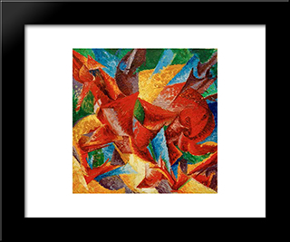 Dimensional Shapes Of A Horse: Modern Black Framed Art Print by Umberto Boccioni