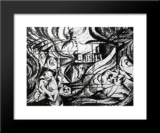 Drawing After 'States Of Mind The Farewells': Modern Black Framed Art Print by Umberto Boccioni