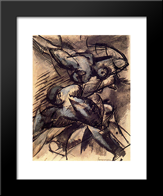 Dynamic Decomposition: Modern Black Framed Art Print by Umberto Boccioni