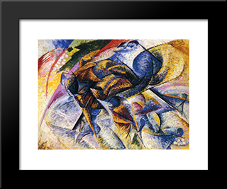 Dynamism Of A Cyclist: Modern Black Framed Art Print by Umberto Boccioni