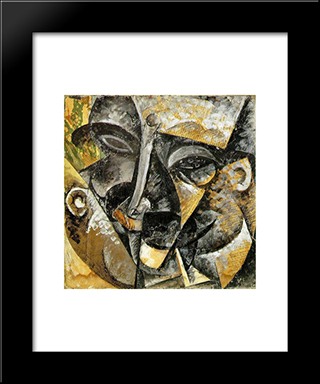 Dynamism Of A Man'S Head: Modern Black Framed Art Print by Umberto Boccioni