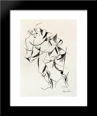 Dynamism Of The Human Body Boxer: Modern Black Framed Art Print by Umberto Boccioni