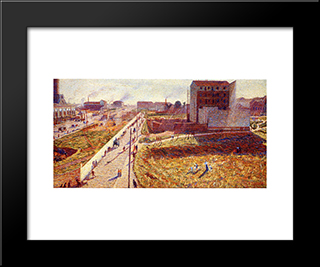 Factories At Porta Romana: Modern Black Framed Art Print by Umberto Boccioni