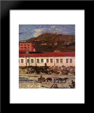 Factory Foltzer: Modern Black Framed Art Print by Umberto Boccioni