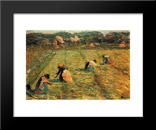 Farmers At Work (Risaiole): Modern Black Framed Art Print by Umberto Boccioni