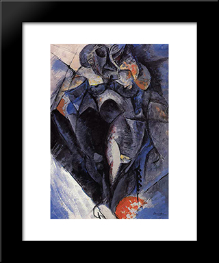 Figure: Modern Black Framed Art Print by Umberto Boccioni