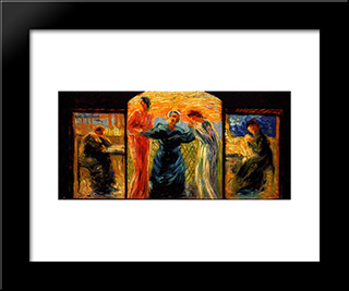 Homage To Mother: Modern Black Framed Art Print by Umberto Boccioni