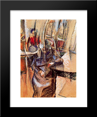 Interior With Two Female Figures: Modern Black Framed Art Print by Umberto Boccioni