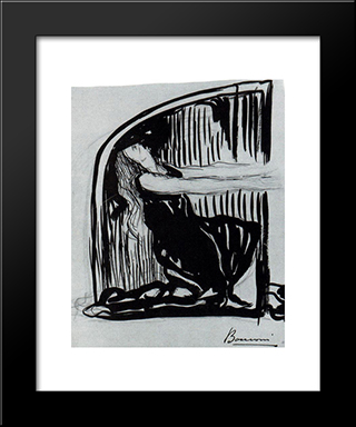 Kneeling Allegorical Figure: Modern Black Framed Art Print by Umberto Boccioni