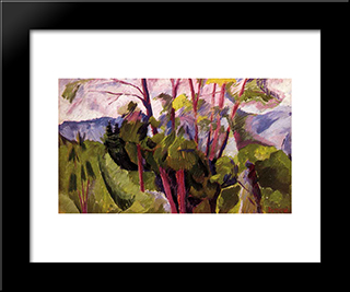 Landscape (Mountains): Modern Black Framed Art Print by Umberto Boccioni