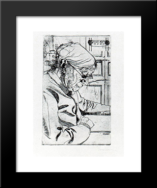 Mar­a Sacchi Reading: Custom Black Wood Framed Art Print by Umberto Boccioni