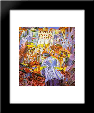 The Street Enters The House: Modern Black Framed Art Print by Umberto Boccioni