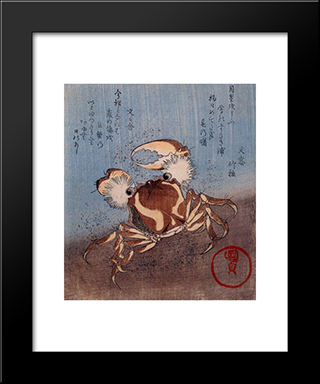 A Crab On The Seashore: Modern Black Framed Art Print by Utagawa Kunisada
