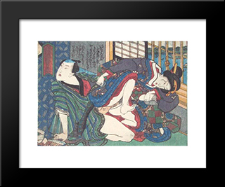Before The Window: Modern Black Framed Art Print by Utagawa Kunisada