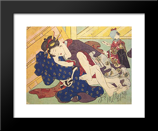 Beneath The Stairs: Modern Black Framed Art Print by Utagawa Kunisada