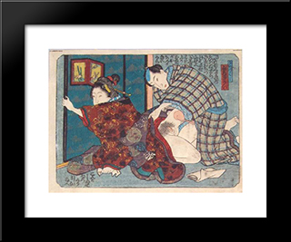 Closing The Screen: Modern Black Framed Art Print by Utagawa Kunisada