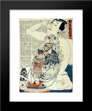 Dietary Life Rules: Modern Black Framed Art Print by Utagawa Kunisada