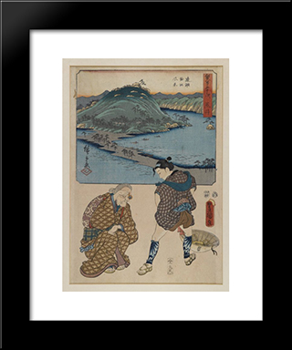 Fifty Three Stages Of The Tokaido (Tokaido Gojusan): Modern Black Framed Art Print by Utagawa Kunisada