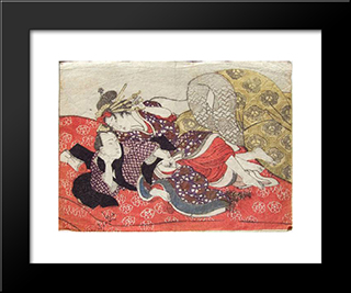 Foreplay On A Red Futon: Modern Black Framed Art Print by Utagawa Kunisada