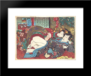 Foreplay Under The Futon: Modern Black Framed Art Print by Utagawa Kunisada