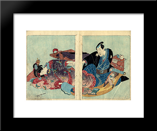 Four Seasons Spring, Summer, Autumn, Winter: Modern Black Framed Art Print by Utagawa Kunisada