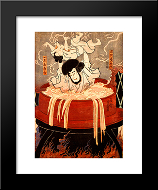 Goemon Ishikawa And His Son Goroichi: Modern Black Framed Art Print by Utagawa Kunisada
