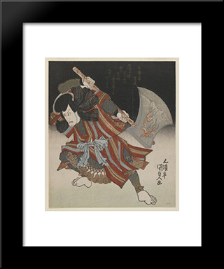 Ichikawa Danjuro As Unno Kotaro Yukiuji (Disguised As Yamagatsu Buo) From A Kamoise At The Ichmuraza Theatre: Modern Black Framed Art Print by Utagawa Kunisada