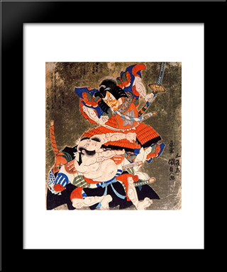 Ichikawa Danjuro Vii And Bando Mitsugoro Iii As Soga No Goro And Asaina No Saburo: Modern Black Framed Art Print by Utagawa Kunisada