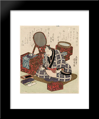 Ichikawa Danjuro Vii In His Dressing Room: Modern Black Framed Art Print by Utagawa Kunisada