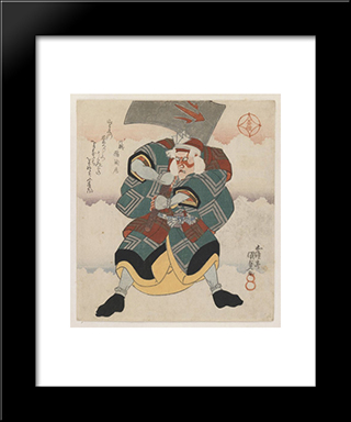 Ichikawa Danjuro Vii Wielding An Axe Wearing A White Haired Wig: Modern Black Framed Art Print by Utagawa Kunisada