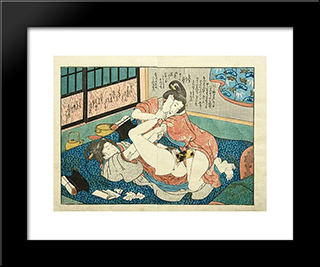 Lesbians Having Sex By A Harikata (Dildo): Modern Black Framed Art Print by Utagawa Kunisada